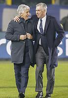 Carlo Ancelotti coach of Napoli  Gian Piero Gasperini coach of Atalanta  during the  italian serie a soccer match,Atalanta - SSC Napoli at  the Atleti azure d'italia   stadium in Bergamo Italy , December 03, 2018