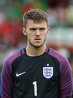 Goalkeeper Freddie Woodman (Newcastle United) of England of England during the International match between England U20 and Brazil U20 at the Aggborough Stadium, Kidderminster, England on 4 September 2016. Photo by Andy Rowland / PRiME Media Images.