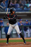 Lake Elsinore Storm shortstop Kelvin Melean (17) at bat during a California League game against the Rancho Cucamonga Quakes at LoanMart Field on May 19, 2018 in Rancho Cucamonga, California. Lake Elsinore defeated Rancho Cucamonga 10-7. (Zachary Lucy/Four Seam Images)