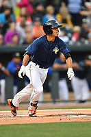Shortstop Andres Jimenez (4) of the Columbia Fireflies bats in a game against the Lakewood BlueClaws on Saturday, May 6, 2017, at Spirit Communications Park in Columbia, South Carolina. Lakewood won, 1-0 with a no-hitter. (Tom Priddy/Four Seam Images)