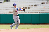 Midland RockHounds second baseman Colin Walsh (6) makes a throw to first base during the Texas League baseball game against the San Antonio Missions on June 28, 2015 at Nelson Wolff Stadium in San Antonio, Texas. The Missions defeated the RockHounds 7-2. (Andrew Woolley/Four Seam Images)