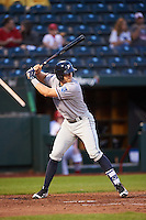 Northwest Arkansas Naturals third baseman Hunter Dozier (24) at bat during a game against the Springfield Cardinals on April 26, 2016 at Hammons Field in Springfield, Missouri.  Northwest Arkansas defeated Springfield 5-2.  (Mike Janes/Four Seam Images)