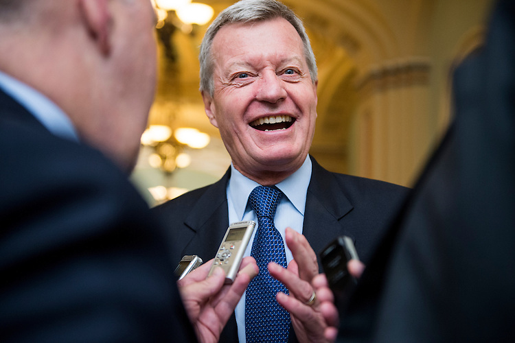 UNITED STATES - MAY 15: Sen. Max Baucus, D-Mont., speaks with reporters in the Ohio Clock Corridor following a vote in the Senate on Wednesday, May 15, 2013. (Photo By Bill Clark/CQ Roll Call)