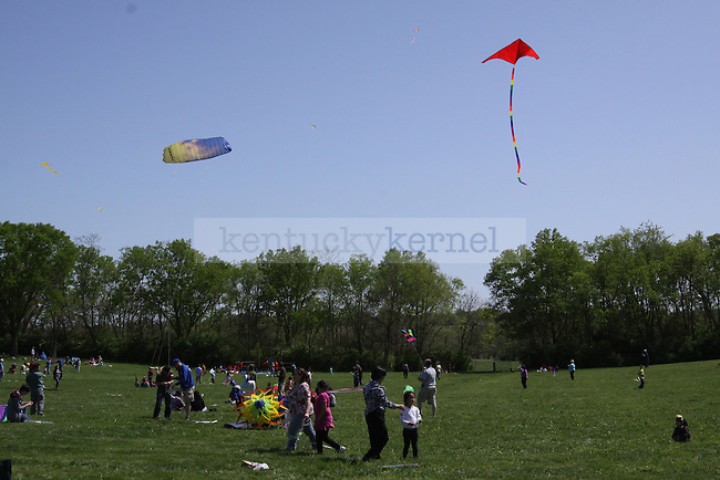 Attendees of the Georgetown International Kite and Culture Festival  enjoy a large open field to fly kites on Saturday April 17, 2010. Photo by Scott Hannigan | Staff