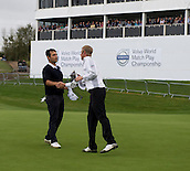 17.10.2014. The London Golf Club, Ash, England. The Volvo World Match Play Golf Championship.  Day 3 group stage matches.  Mikko Ilonen [FIN] beats Alexander Levy [FRA] by 1 hole.