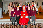 Lyrecrompne NS Confirmation: M/S Eilish Lyons's class who were confirmed in St. Mary's Church, Listowel by Bishop Ray Browne on Monday last. Front : Darragh Long, T.J. Cosgrove, Bishop Ray Browne, David Roche & Abbie Roche. Back: Principal Ciara O'Connor, Grace O'Regan, Conor McMahon, Katie Murphy & Teacher Eilish Lyons.