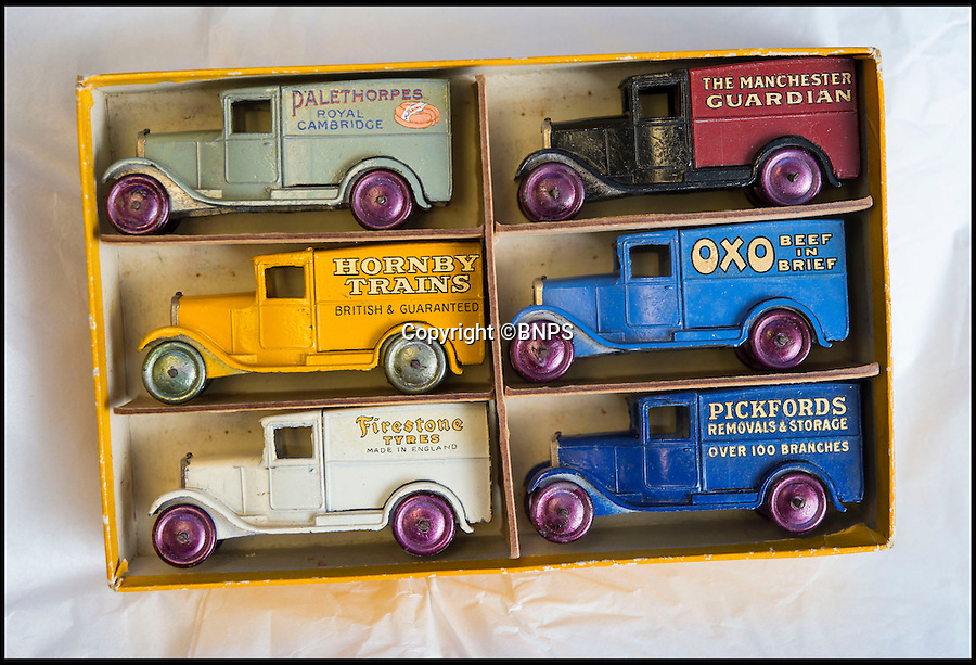 BNPS.co.uk (01202 558833)<br /> Pic: PhilYeomans/BNPS<br /> <br /> Dinky dynamite...<br /> <br /> The first two sets of Dinky Toys ever made have sold for almost &pound;50,000 in a landmark auction.<br /> <br /> In a sale the likes of which has never been seen before, the 12 ultra-rare Dinky Toys from 1933 were snapped up by a private collector for almost twice their estimate.<br /> <br /> Experts at Special Auction Services in Newbury, Berks, had tipped the two boxes of six delivery vans to fetch &pound;15,000 each but after fierce bidding they sold for &pound;20,000 and &pound;19,000 respectively.<br /> <br /> With sale room fees and VAT added the total was &pound;46,000.