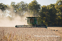 63801-07304 Soybean harvest with John Deere combine in Marion Co. IL