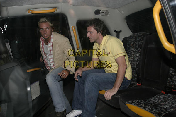 LEE SHARP & FRIEND.Leaving Cipriani Restaurant,.London, 14th September 2005.full length taxi yellow shirt denim jeans.Ref: AH.www.capitalpictures.com.sales@capitalpictures.com.© Capital Pictures.