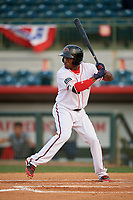 Florida Fire Frogs right fielder Anfernee Seymour (5) at bat during a game against the Palm Beach Cardinals on May 1, 2018 at Osceola County Stadium in Kissimmee, Florida.  Florida defeated Palm Beach 3-2.  (Mike Janes/Four Seam Images)