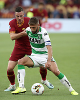 Football, Serie A: AS Roma - Sassuolo, Olympic stadium, Rome, September 15, 2019. <br /> Sassuolo's captain Domenico Berardi (r) in action with Roma's Jordan Veretout (l) during the Italian Serie A football match between Roma and Sassuolo at Olympic stadium in Rome, on September 15, 2019.<br /> UPDATE IMAGES PRESS/Isabella Bonotto