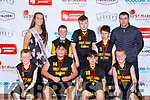 The Gaelscoil Aogain team that played Scartaglen NS in the Senior Boys NS Boys B final  at the St Marys Basketball Blitz on Monday Conor Clifford, Daniel Kenny, Adrian Walsh, Adam Cahill. Back row: Paris McCarthy Miss Basketball, Seamus Phelan, Karl Brosnan, Jack Nolan and Micheal Cahill Coach