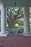 A nice view from the mansion at Oak Alley in the early morning as the Oak trees begin to light up from the porch at the big house.