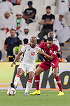Ismaeil Matar Aljneibi of United Arab Emirates (L) fights for the ball with Pedro Correia of Qatar (R) during the AFC Asian Cup UAE 2019 Semi Finals match between Qatar (QAT) and United Arab Emirates (UAE) at Mohammed Bin Zaied Stadium  on 29 January 2019 in Abu Dhabi, United Arab Emirates. Photo by Marcio Rodrigo Machado / Power Sport Images