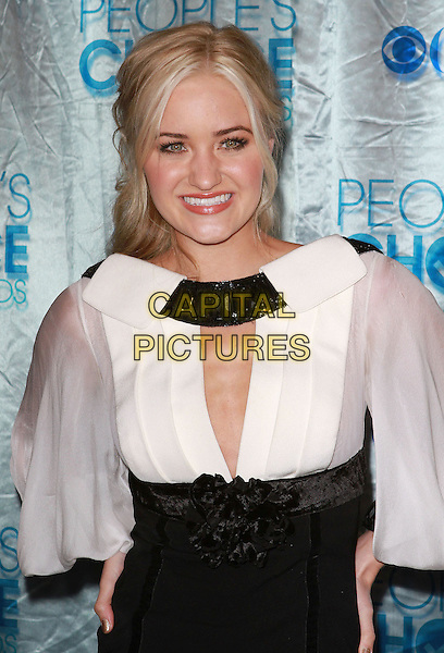 AMANDA MICHALKA.2011 People's Choice Awards held at Nokia Theatre L.A. Live, Los Angeles, California, USA, 5th January 2011..half length white black cut out smiling dress corsage flower .CAP/ADM/KB.©Kevan Brooks/AdMedia/Capital Pictures.