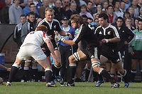 New Zealand second row Samuel Whitelock drives play forward during the Division A U19 World Championship match at Ravenhill, Belfast.