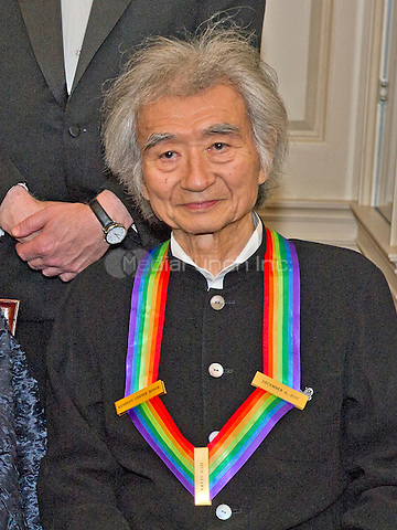Conductor Seiji Ozawa, one of the five recipients of the 38th Annual Kennedy Center Honors, poses as part of a group photo following a dinner hosted by United States Secretary of State John F. Kerry in their honor at the U.S. Department of State in Washington, D.C. on Saturday, December 5, 2015.  The 2015 honorees are: singer-songwriter Carole King, filmmaker George Lucas, actress and singer Rita Moreno, conductor Seiji Ozawa, and actress and Broadway star Cicely Tyson.<br /> Credit: Ron Sachs / Pool via CNP/MediaPunch