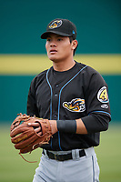 Akron RubberDucks shortstop Yu-Cheng Chang (6) warms up before a game against the Binghamton Rumble Ponies on May 12, 2017 at NYSEG Stadium in Binghamton, New York.  Akron defeated Binghamton 5-1.  (Mike Janes/Four Seam Images)