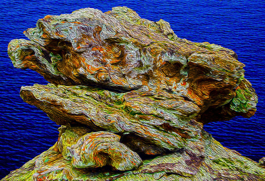 An artistic rendering of a stone found at Petit Jean State Park that sings an ode to fluidity and flow.