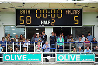 A general view of the scoreboard after the match. Aviva Premiership match, between Bath Rugby and Newcastle Falcons on September 10, 2016 at the Recreation Ground in Bath, England. Photo by: Patrick Khachfe / Onside Images