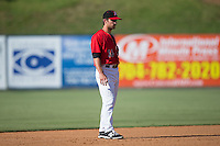 Kannapolis Intimidators shortstop Grant Massey (16) on defense against the Greenville Drive at Intimidators Stadium on June 7, 2016 in Kannapolis, North Carolina.  The Drive defeated the Intimidators 4-1 in game one of a double header.  (Brian Westerholt/Four Seam Images)