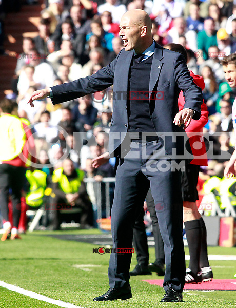 Real Madrid's coach Zinedine Zidane during La Liga match. April 8,2018. (ALTERPHOTOS/Acero) NortePhoto.com