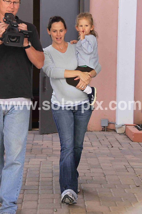 **ALL ROUND PICTURES FROM SOLARPIX.COM**.**WORLDWIDE SYNDICATION RIGHTS**.**NO PUBLICATION IN AUSTRALIA, NEW ZEALAND, DENMARK, GERMANY OR USA**.Jennifer Garner and her young daughter seen leaving the nursery together. Jennifer approaching her due date and looking much larger at this stage of her pregnancy. California, USA. 4th November 2008...JOB REF: 7796 LAP (CNA)       DATE: 04_11_2008.**MUST CREDIT SOLARPIX.COM OR DOUBLE FEE WILL BE CHARGED* *UNDER NO CIRCUMSTANCES IS THIS IMAGE TO BE REPRODUCED FOR ANY ONLINE EDITION WITHOUT PRIOR PERMISSION*