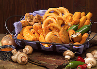 A basket of assorted appetizers