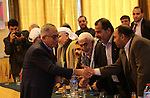 Former Palestinian Prime Minister Salam Fayyad take part during intellectual lecture in Gaza city on December 2, 2015. Fayyad was invited to the Gaza Strip by the Beit al-Hikma (House of Wisdom) organization headed by Ahmad Yousif, a former adviser to Hamas leader Ismail Haniyeh. Photo by Mohammed Asad
