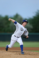 Grant Holmes #45 of the AZL Dodgers pitches against the AZL Padres at Camelback Ranch on July 8, 2014 in Glendale, Arizona. (Larry Goren/Four Seam Images)