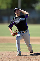 Colorado Rockies pitcher Sam Moll (82) during an instructional league game against the Milwaukee Brewers on October 1, 2013 at Maryvale Baseball Park Training Complex in Phoenix, Arizona.  (Mike Janes/Four Seam Images)