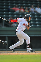 Shortstop Javier Guerra (31) of the Greenville Drive bats in a game against the Savannah Sand Gnats on Saturday, September 5, 2015, at Fluor Field at the West End in Greenville, South Carolina. (Tom Priddy/Four Seam Images)