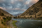 Idaho, North Central, Riggins. The Main Salmon at sunrise in autumn.