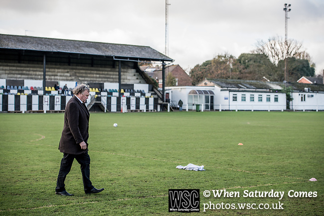 Harwich &amp; Parkeston 2 Barnston 0, 11/11/2017. Royal Oak Ground, Andreas Carter Essex &amp; Suffolk Border League Premier Division. Harwich &amp; Parkeston reached the final of the Amateur Cup in 1953 at Wembley Stadium and played in front of a crowd of 100,000. <br /> Harwich &amp; Parkeston chairman Tony Armstrong. Photo by Simon Gill.