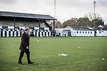 Harwich & Parkeston 2 Barnston 0, 11/11/2017. Royal Oak Ground, Andreas Carter Essex & Suffolk Border League Premier Division. Harwich & Parkeston reached the final of the Amateur Cup in 1953 at Wembley Stadium and played in front of a crowd of 100,000. <br /> Harwich & Parkeston chairman Tony Armstrong. Photo by Simon Gill.