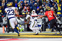 College Park, MD - NOV 11, 2017: Michigan Wolverines defensive back David Long (22) catches an interception in the endzone during game between Maryland and Michigan at Capital One Field at Maryland Stadium in College Park, MD. (Photo by Phil Peters/Media Images International)