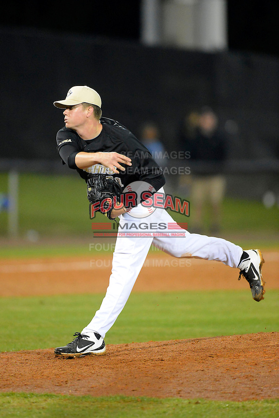 Central Florida Knights pitcher Zak Favre #31 during a game against the Siena Saints at Jay Bergman Field on February 15, 2013 in Orlando, Florida.  UCF defeated Siena 7-1.  (Mike Janes/Four Seam Images)