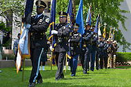May 10, 2013  (Washington, DC)  Police color guards during a ceremony at the Washington Area Law Enforcement Memorial.  (Photo by Don Baxter/Media Images International)