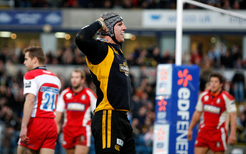 Photo: Richard Lane/Richard Lane Photography..London Wasps v Gloucester Rugby. EDF Energy Cup. 04/11/2007. .Wasps' James Haskell celebrates his second try.
