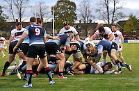 Bedford, England. Blues win back the ball during The Championship Bedford Blues vs Newcastle Falcons at Goldington Road  Bedford, England on November 3, 2012