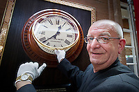 The Caledonian, a Waldorf Astoria Hotel, marks the completion of a £24 million restoration with the restoration of the former station clock, Edinburgh, Scotland, 3rd October 2012. The clock time is set 5 minutes fast , as was the tradition when the clock was used in the station to stop passengers missing their trains, by Billy Garioch, who has worked at the hotel for over four decades..Picture:Scott Taylor Universal News And Sport (Europe) .All pictures must be credited to www.universalnewsandsport.com. (Office)0844 884 51 22.
