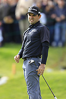 Fabrizio Zanotti (PAR) misses his putt on the 18th hole during Sunday's Final Round of the 2017 Omega European Masters held at Golf Club Crans-Sur-Sierre, Crans Montana, Switzerland. 10th September 2017.<br /> Picture: Eoin Clarke | Golffile<br /> <br /> <br /> All photos usage must carry mandatory copyright credit (&copy; Golffile | Eoin Clarke)