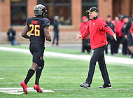 College Park, MD - NOV 26, 2016: Maryland Terrapins head coach DJ Durkin celebrates a defensive stop with Maryland Terrapins defensive back Darnell Savage Jr. (26) during game between Maryland and Rutgers at Capital One Field at Maryland Stadium in College Park, MD. Maryland defeated Rutgers 31-13. (Photo by Phil Peters/Media Images International)