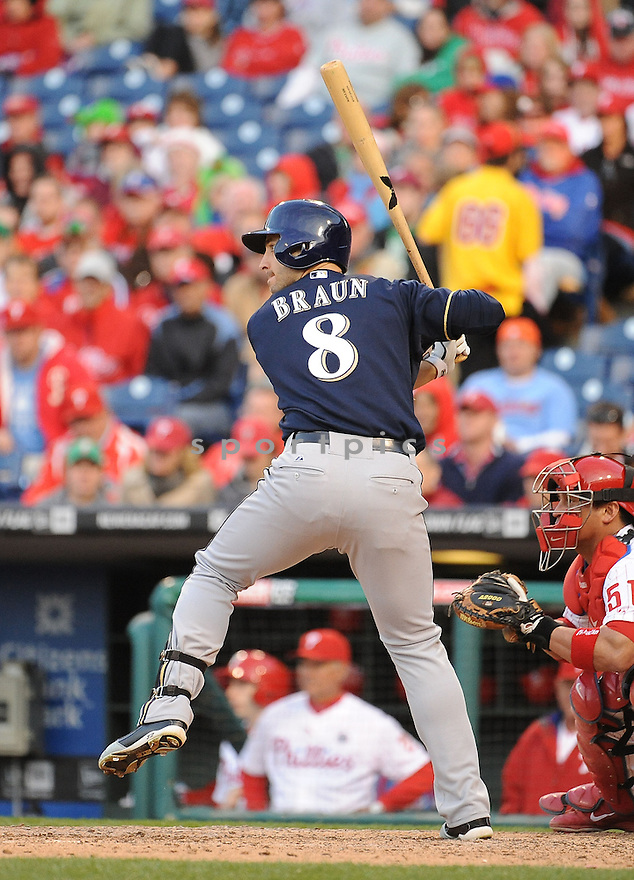 Milwaukee Brewers Ryan Braun (8) during a game against the Philadelphia Phillies on April 8, 2014 at Citizens Bank Park in Philadelphia, PA. The Brewers beat the Phillies 10-4.