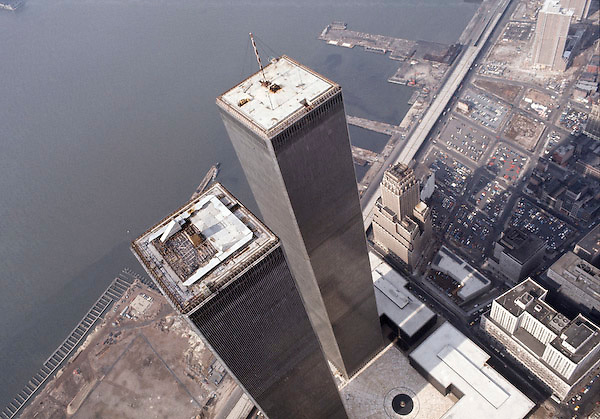 Helicopter aerial view of WTC.