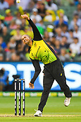 10th February 2018, Melbourne Cricket Ground, Melbourne, Australia; International Twenty20 Cricket, Australia versus England;  Ashton Agar of Australia bowls