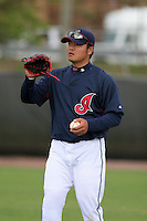 Cleveland Indians Shin-Soo Choo during practice before a Grapefruit League Spring Training game at the Chain of Lakes Complex on March 16, 2007 in Winter Haven, Florida.  (Mike Janes/Four Seam Images)