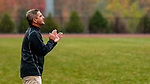 THOMASTON,  CT-101619JS10-Thomaston head coach  Martin Giroux yells out instructions to his players during their Berkshire League match up with Terryville Wednesday at Nystrom Park in Thomaston.<br /> Jim Shannon Republican-American