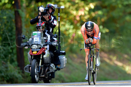 23.09.2015. Richmond, Virginia, USA. World Championship Cycling, Mens Elite time trials.  Tom Dumoulin of The Netherlands  pictured during the individual Time Trial Elite men at the UCI Road World Cycling Championships in Richmond, United States of America
