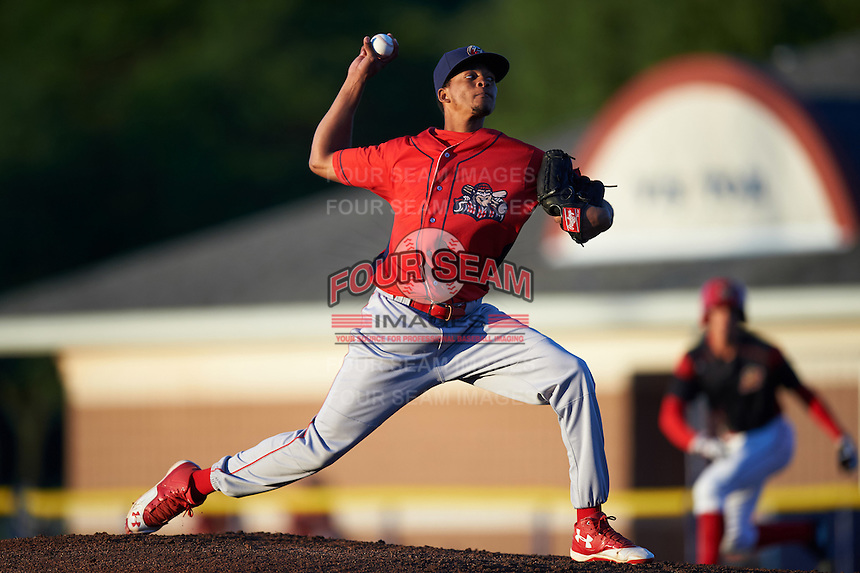 Williamsport Crosscutters starting pitcher Felix Paulino (27) during a game against the Batavia Muckdogs on September 2, 2016 at Dwyer Stadium in Batavia, New York.  Williamsport defeated Batavia 9-1. (Mike Janes/Four Seam Images)
